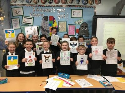 Mrs Wallace's P7 class proudly displaying their finished comics! (September 2019)