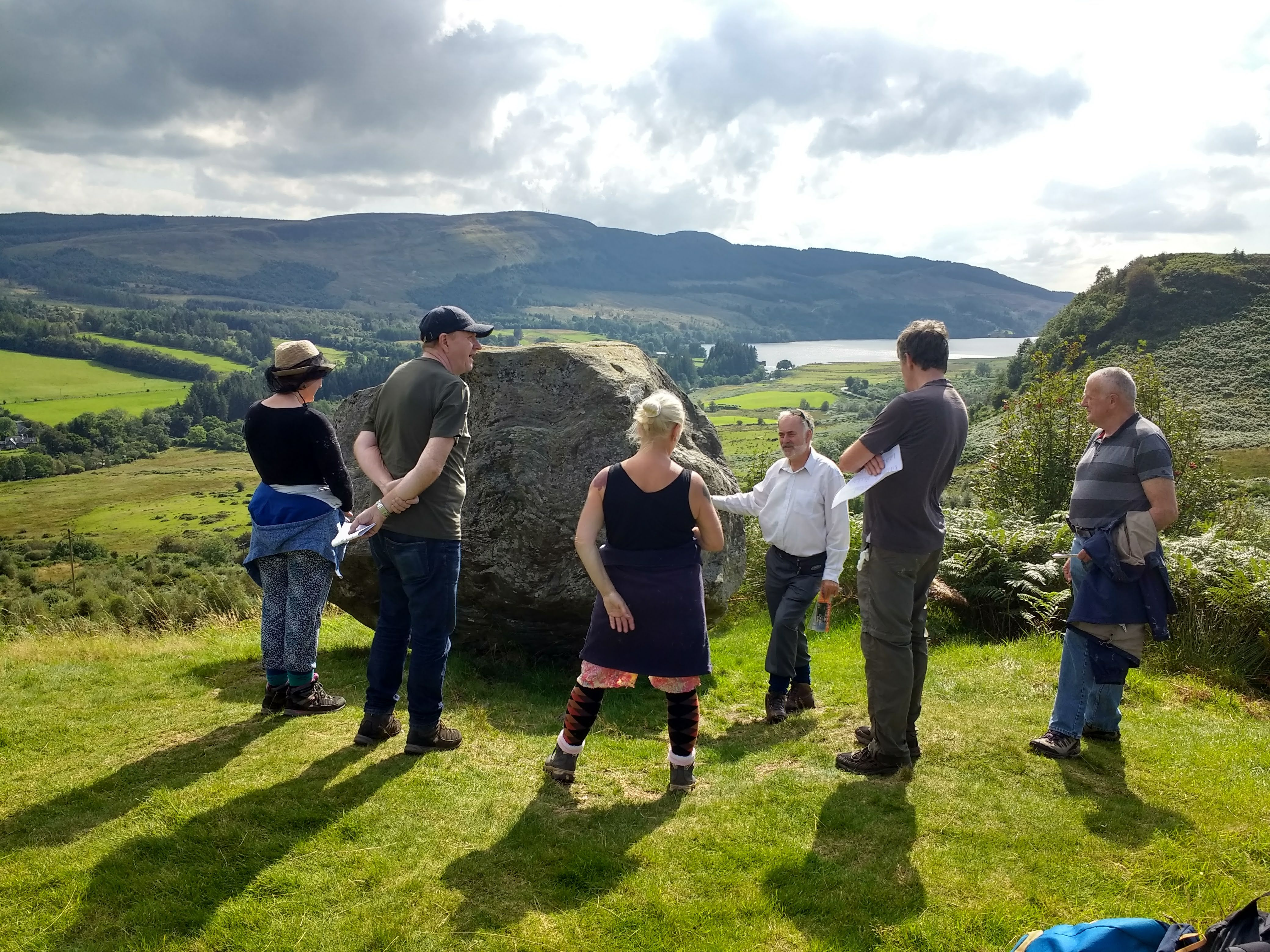 Roddy MacLean leading our volunteers to Samson's Putting Stone above Loch Venachar (August 2019)