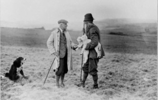 A shepherd being interviewed at Back of Drummond, Callander in 1935 (Courtesy of SCRAN)