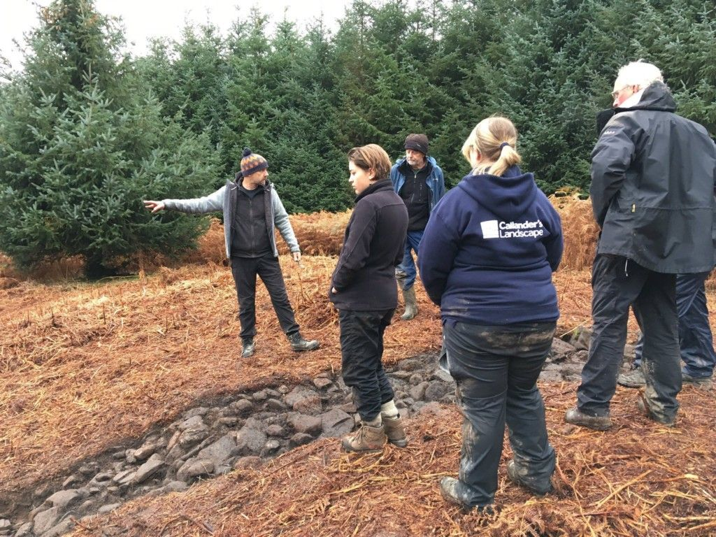 Lisa (centre in our hoody) reviewing the site with Dr Gavin MacGregor (Northlight Heritage) at Cambusbeg West