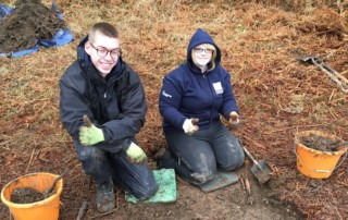 Niall and Lisa enjoying community archaeology at Cambusbeg West in October 2019