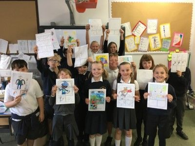 p7-pupils-showing-off-their-artwork
