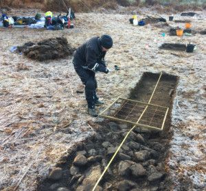 Recording trenches on a frosty morning