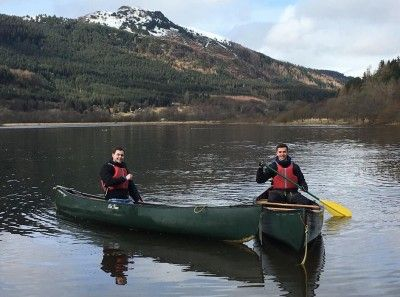 Two canoes in the loch at Strathyre