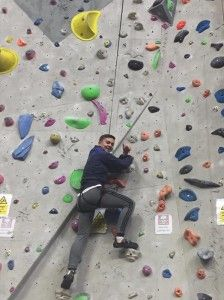 Jack on the climbing wall at Ratho