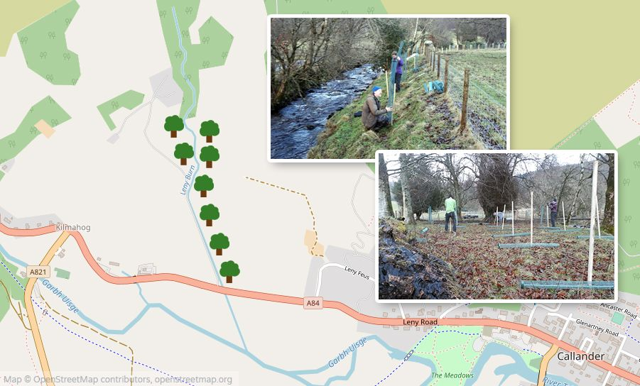 Map of Leny Burn with photos showing tree planting