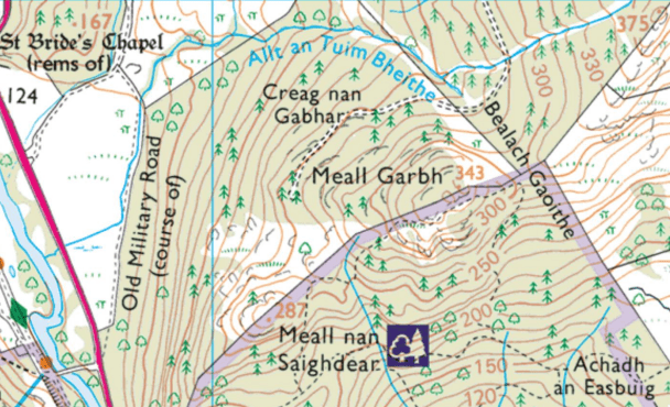 A selection of Gaelic place-names from the Leny Woods area, including Meall nan Saighdear (Lumpy Hill of the Soldiers), Creag nan Gabhar (Crag of the Goats), and Achadh an Easbuig (Field of the Bishop).