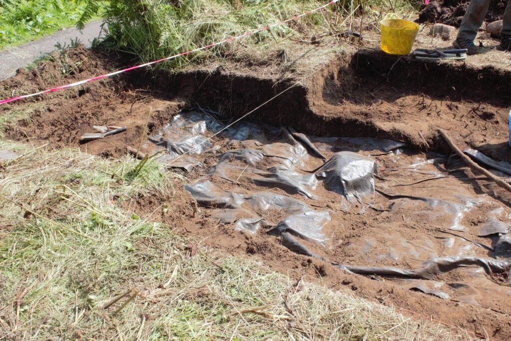 Above is the section of the trench I was working on. The 0.5m extensions can be seen on either side, as well as an additional extension toward the path to see if anything of note could be found there. The section nearest the path had been quite disturbed by the path building process.