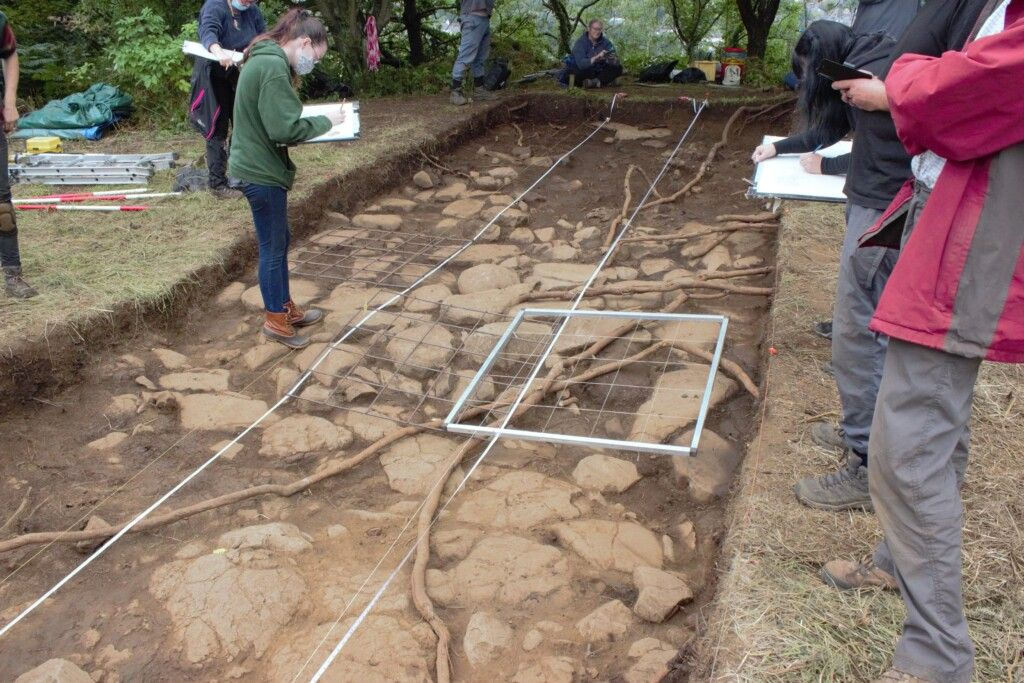 On the final day of the dig prior to backfilling, planning took place. Planning involves drawing a top-down view of the trench. These plans must be accurate as they are to be spliced together, creating a plan of the whole trench.