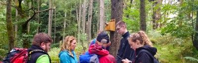 A-group-of-people-in-the-woods-around-a-bird-nest-box
