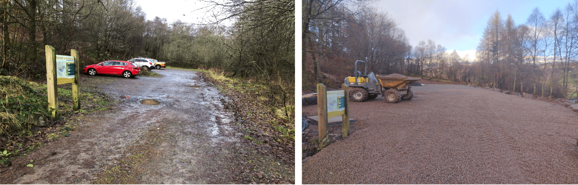Before and after photos showing the expansion of the car park