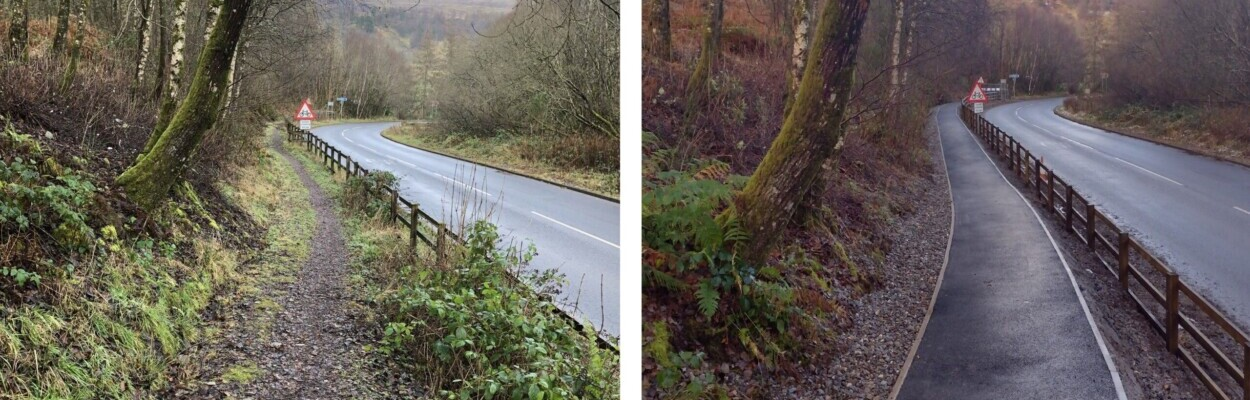Before and after photo showing the upgrade of the access path from the car park to the cycle path.