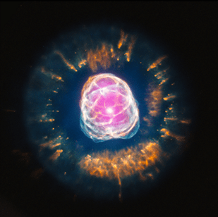 image showing a ball of pink and white lines surrounded by orange flashes.